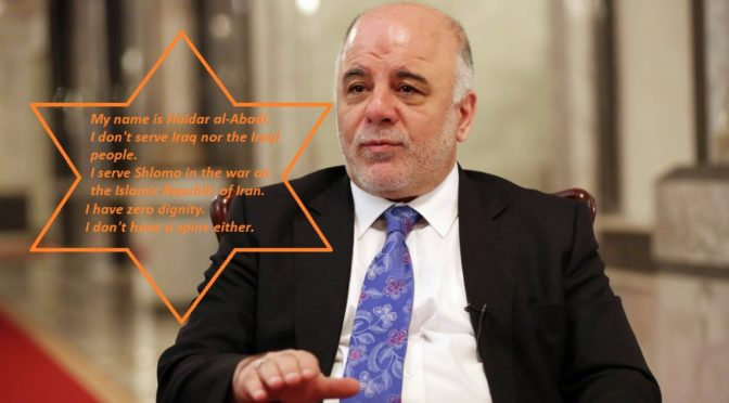 Haidar al-Abadi Betrays Iran To Uphold Trump's Sanctions, Proving He Is The US ZOG's Servant And A Disgrace To All Iraqis