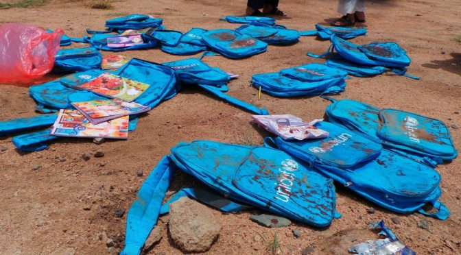 "A Poem For Al-Saud's School Bus Massacre In Yemen's Saada: ""Bloody Coloring Books And Backpacks"""
